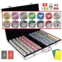 1.5 Gram Casino Gambling Poker Chip Set with Storage Case and Gaming Accessories