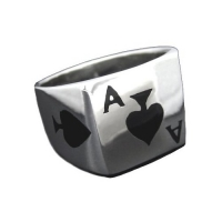925 Sterling Silver Poker Ace of Spades Ring--Hawaiian Silver Jewelry