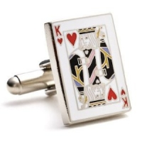 Classic King of Hearts Cards Poker Cufflinks Cuff Links