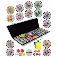 Clay Composite Gambling Poker Chip Chipset with Gaming Accessories