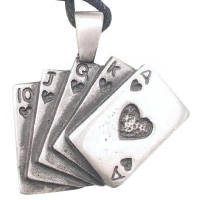 Lucky Royal Flush Poker Pewter Pendant Necklace
