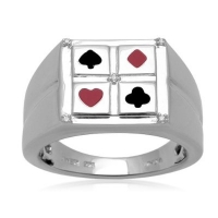 Men's Sterling Silver Enamel Poker Diamond Ring