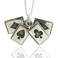 Sterling Silver Poker Cards Pendant