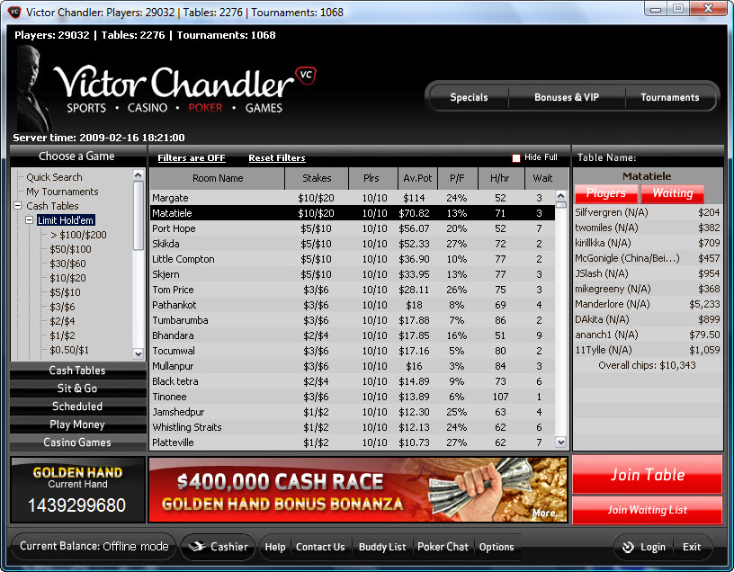 Victor chandler poker